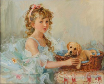 Animal Painting - Girl and Puppy KR 003 pet kids