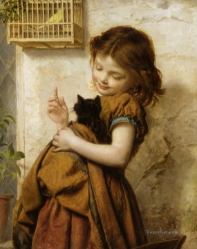 Animal Painting - Her Favorite Pets Sophie Gengembre Anderson pet girl