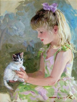 Kitten Little Girl KR 027 pet kids Oil Paintings