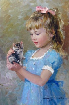 Kitten and Girl KR 042 pet kids Oil Paintings