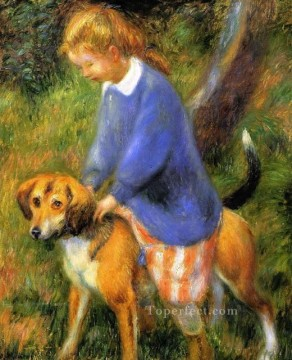 Animal Painting - Lenna with dog pet kids
