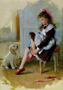 Little Girl and Puppy KR 004 pet kids Oil Paintings