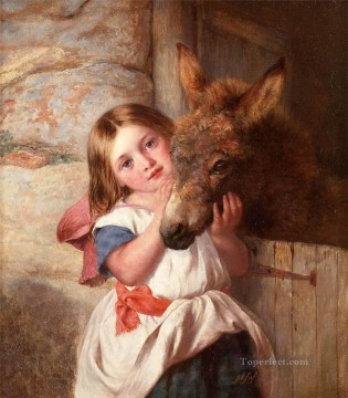 Lovely Little Girl 8 pet kids Oil Paintings