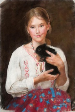 Animal Painting - Pretty Little Girl NM Tajikistan 29 pet kids