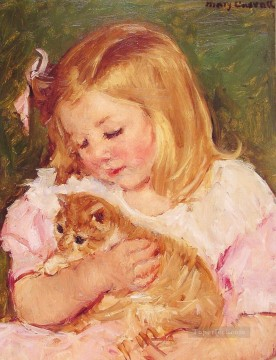 Sara Holding A Cat mary cassatt pet kids Oil Paintings