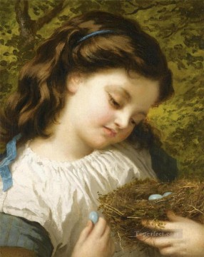 Animal Painting - The Birds Nest Sophie Gengembre Anderson pet girl