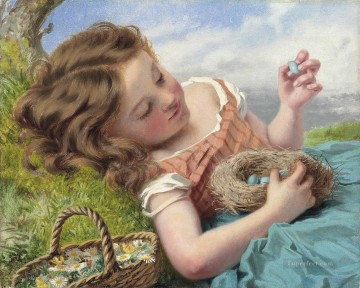Sophie Painting - The thrush nest Sophie Gengembre Anderson pet girl