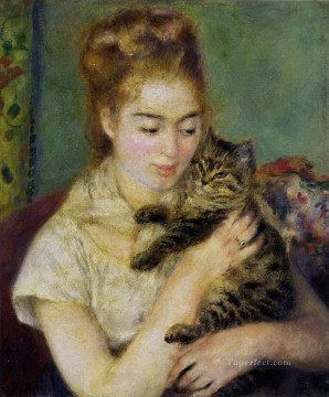 Animal Painting - Woman with a Cat Renoir pet kids