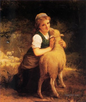 Animal Painting - Young Girl with Lamb Emile Munier pet kids