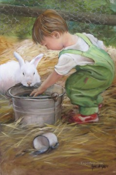 Animal Painting - boy with rabbit pet kids
