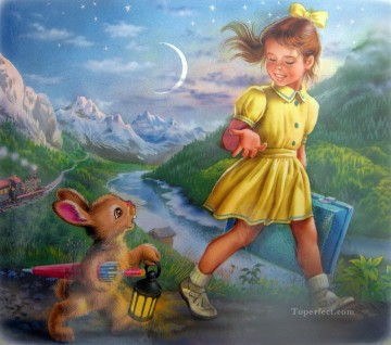 kids Art - girl and bunny pet kids