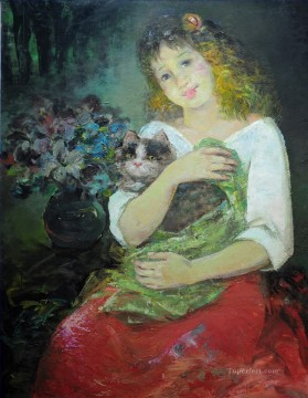 Animal Painting - girl and cat pet kids