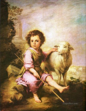Animal Painting - shepherd boy with lamb pet kids