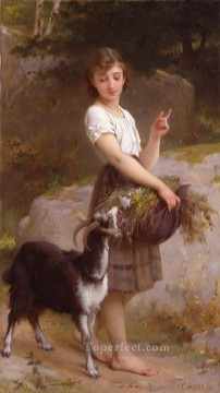 Animal Painting - young girl with goat and flowers Emile Munier pet kids