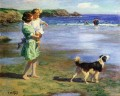 Edward Henry Potthast mother and girl with dog on seaside pet kids