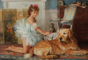 Animal Painting - Girl and Dog Kitten 008 pet kids