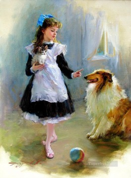 Animal Painting - Girl and Dog Kitten KR 002 pet kids