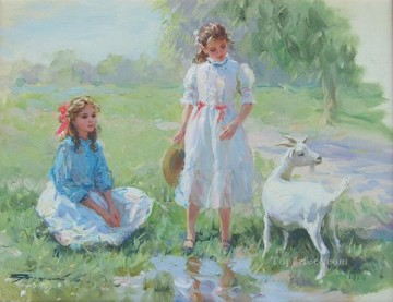 Girls Goat KR 061 pet kids Oil Paintings