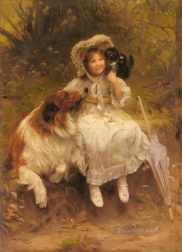 kids painting - He Won t Hurt You idyllic children Arthur John Elsley pet kids