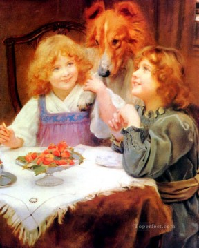 kids painting - High Expectations idyllic children Arthur John Elsley pet kids