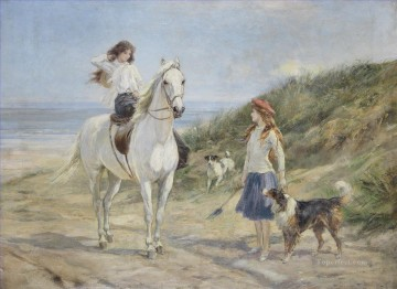 Pets and Children Painting - Holiday time Heywood Hardy horse riding pet