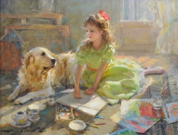 In My Fathers Studio pet kids Oil Paintings