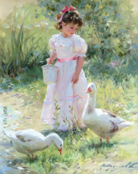 Little Girl Geese KR 044 pet kids Oil Paintings