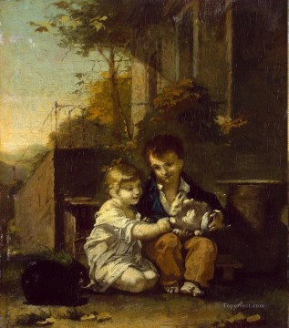 Proudhon Pierre Paul ZZZ Children with a Rabbit pet kids Oil Paintings