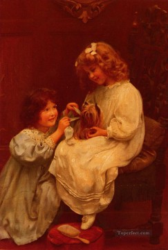 idyllic Painting - The Blue Ribbon idyllic children Arthur John Elsley pet kids