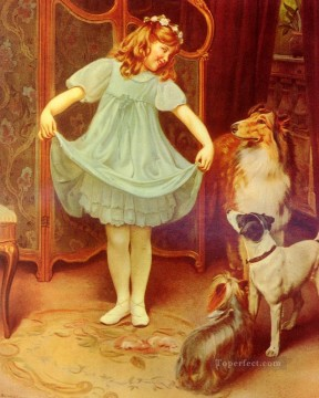 new orleans Painting - The New Dress idyllic children Arthur John Elsley pet kids