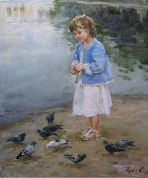 Animal Painting - boy and pigeons VG 16 pet kids