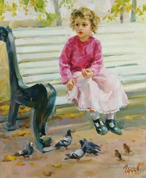 Animal Painting - boy and pigeons VG 18 pet kids