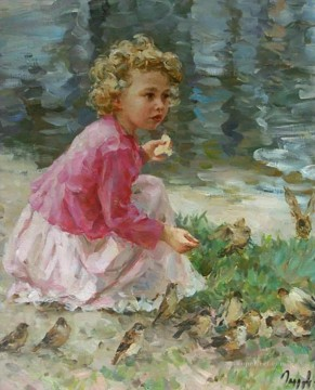 Animal Painting - boy and pigeons VG 25 pet kids