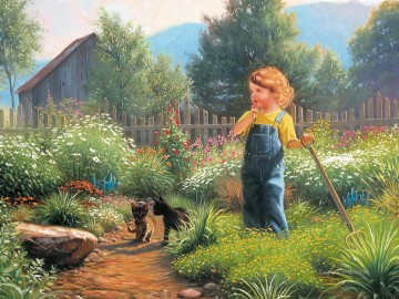 kids Art - kid and cats at country house pet kids