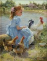 young girl with rooster and two hens pet kids