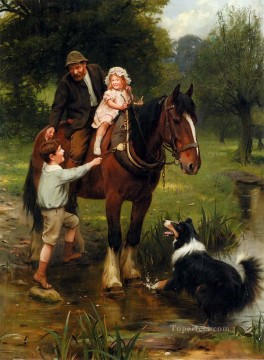 idyllic Painting - A Helping Hand idyllic children Arthur John Elsley pet kids