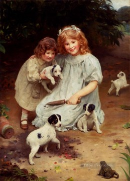 kids painting - An Uninvited Guest idyllic children Arthur John Elsley pet kids