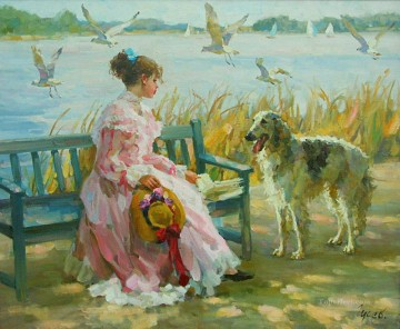 Beautiful Girl VG 03 pet kids Oil Paintings