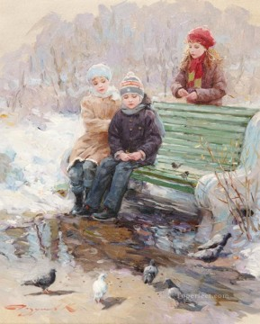 Children birds KR 056 pet kids Oil Paintings