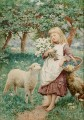 Country Girl by Henry James Johnstone British 03 pet kids