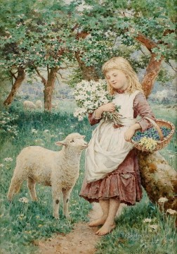 Country Girl by Henry James Johnstone British 03 pet kids Oil Paintings