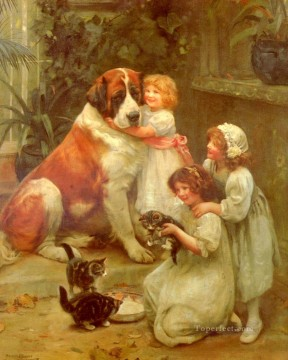 idyllic Painting - Family Favourites idyllic children Arthur John Elsley pet kids