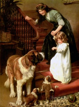 kids painting - Good Night idyllic children Arthur John Elsley pet kids