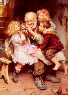 kids painting - Grandfathers Favorites idyllic children Arthur John Elsley pet kids