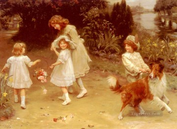 kids painting - Love At First Sight idyllic children Arthur John Elsley pet kids