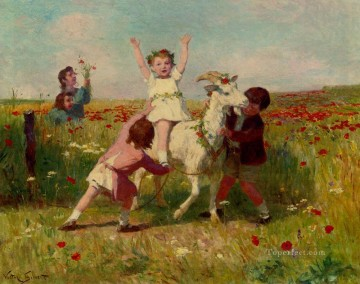 new orleans Painting - New Tricks genre Victor Gabriel Gilbert pet kids