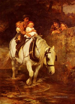 Steady rural family Frederick E Morgan pet kids Oil Paintings
