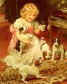 Tea Time idyllic children Arthur John Elsley pet kids