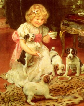Tea Time idyllic children Arthur John Elsley pet kids Oil Paintings