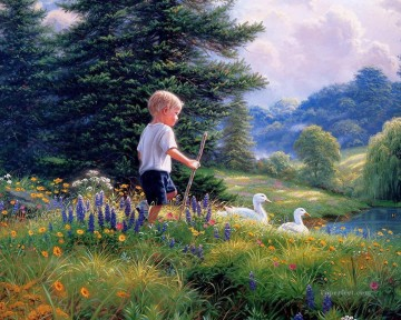 kids Art - boy and duck countryside pet kids